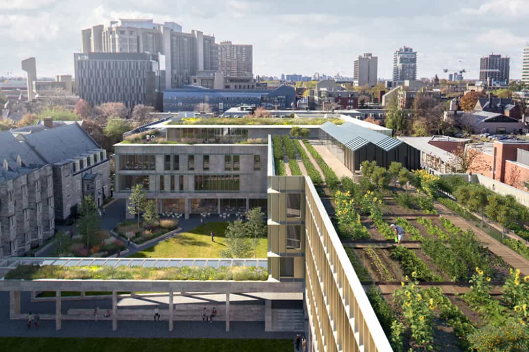 Rendering of Lawson Centre for Sustainability, Trinity College. COURTESY OF MECANOO ARCHITECTEN AND RDH ARCHITECTS INC.
